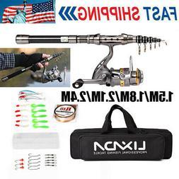 1.5-2.4M Telescopic Fishing Rod Spinning Reel Combo Full Kit